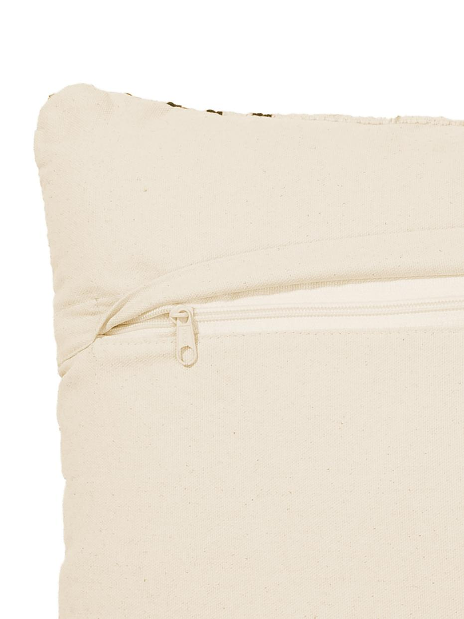 Kissenhülle Loa, 100% Baumwolle, Cremefarben, Schwarz, 40 x 60 cm