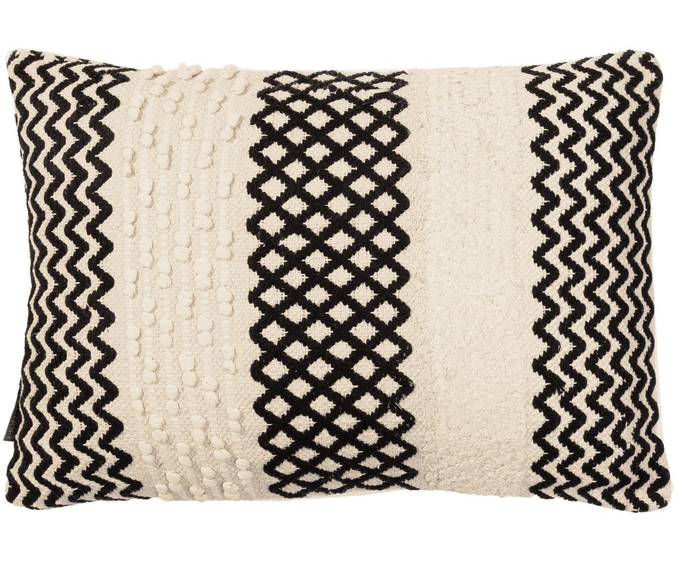 Kussenhoes Loa, Katoen, Crèmekleurig, zwart, 40 x 60 cm