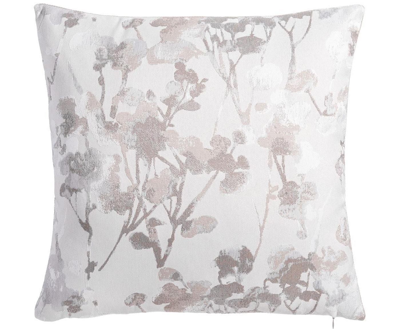 Cojín Shiny Flower, con relleno, Poliéster, Gris, blanco, An 45 x L 45 cm