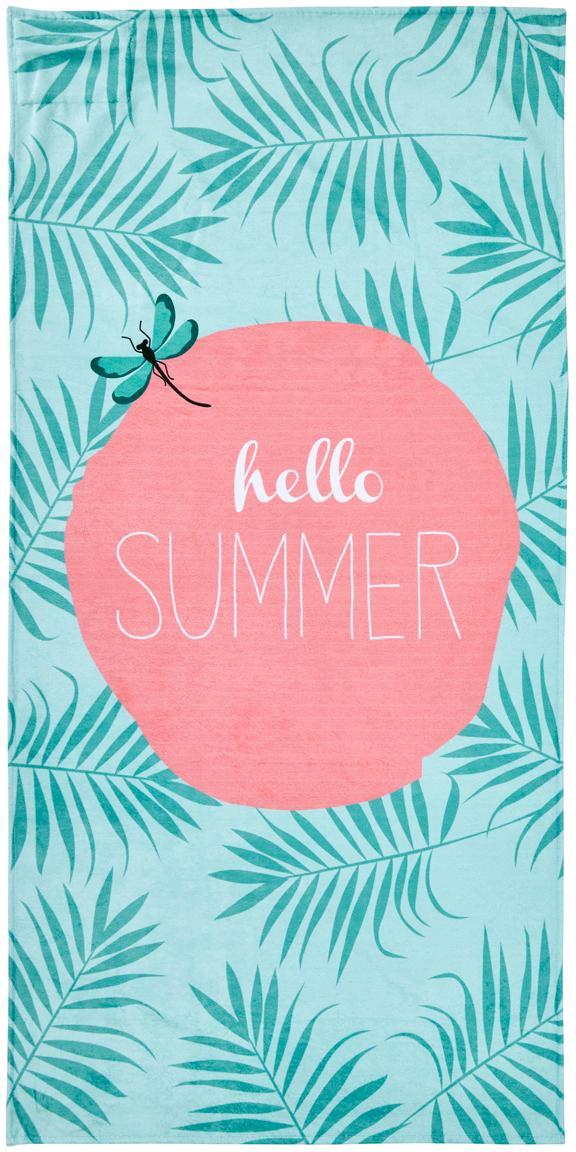 Toalla de playa Case Hello Summer, Parte trasera: terry, Tonos verdes menta, rosa, blanco, An 90 x L 180 cm