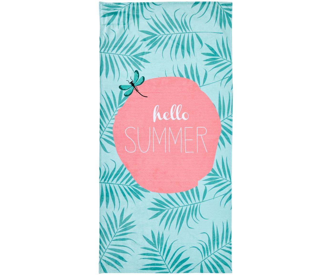 Strandlaken Case Hello Summer, Onderzijde: badstof, Mintgroen, roze, wit, 90 x 180 cm