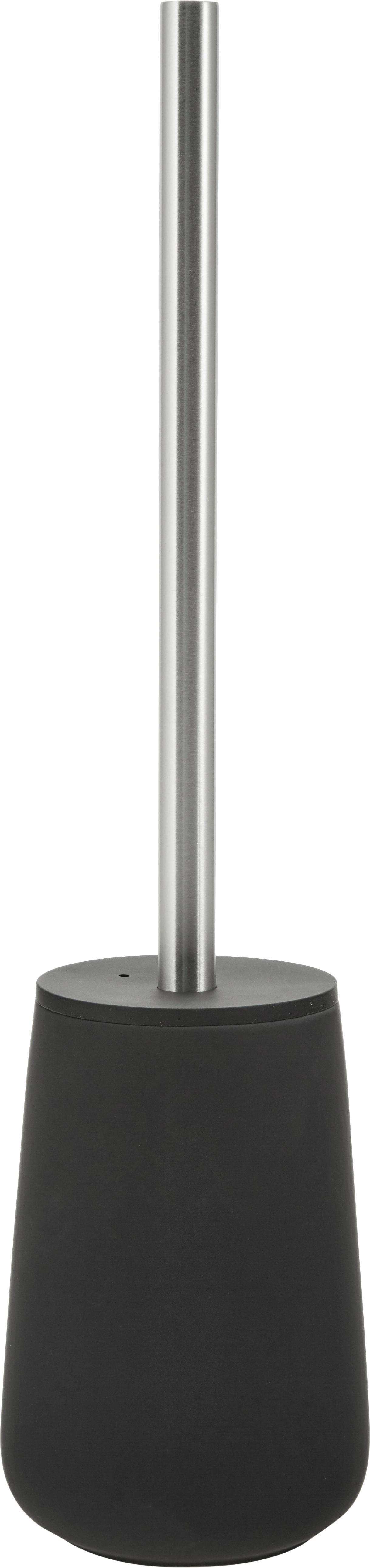 Scopino Brush, Contenitore: porcellana, Nero opaco, acciaio inossidabile, Ø 10 x Alt. 43 cm