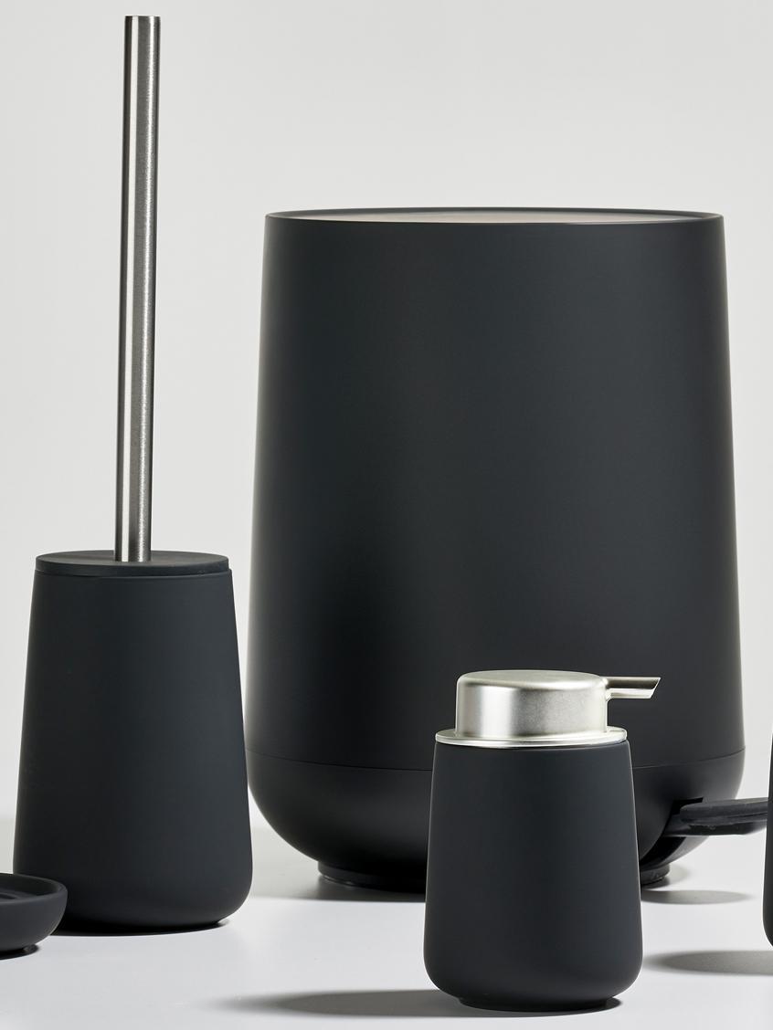 Toilettenbürste Nova mit Porzellan-Behälter, Behälter: Porzellan, Griff: Edelstahl, Schwarz matt, Edelstahl, Ø 10 x H 43 cm