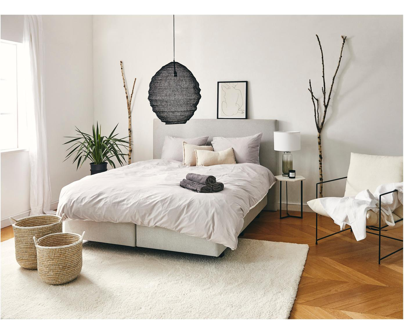 Łóżko kontynentalne premium Eliza, Nogi: lite drewno bukowe, lakie, Szary, 200 x 200 cm