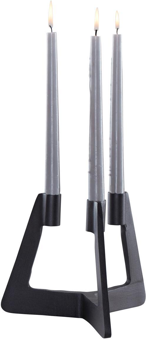 Kerzenhalter Trisset, Metall, beschichtet, Schwarz, 19 x 17 cm