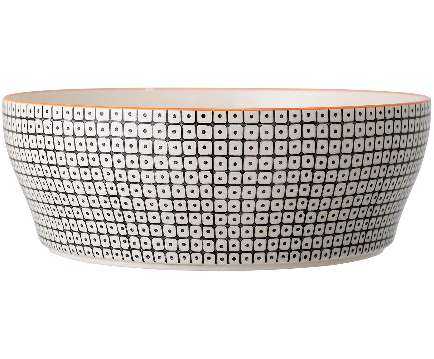 Schale Carla mit kleinem Muster, Steingut, Schwarz, Weiß, Rot, Ø 29 x H 10 cm