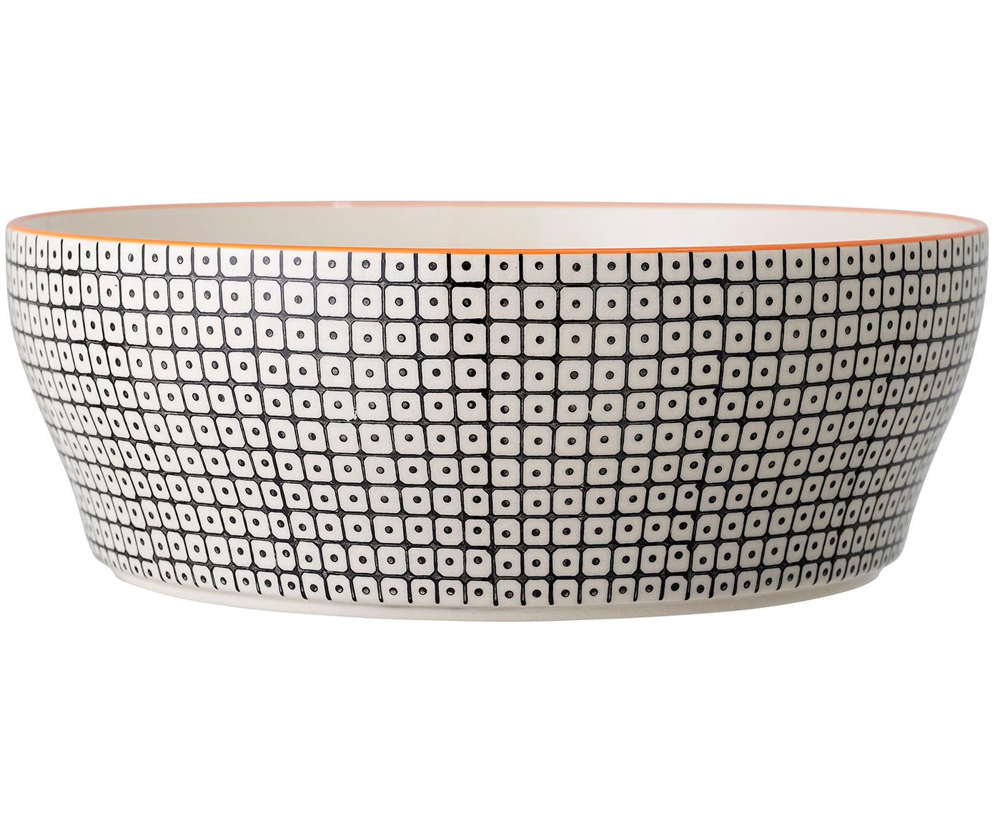 Servierschale Carla mit kleinem Muster Ø 29 cm, Steingut, Schwarz, Weiß, Orange, Ø 29 x H 10 cm