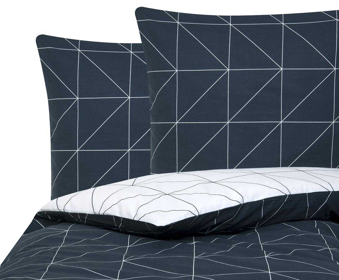 Baumwoll-Wendebettwäsche Marla mit grafischem Muster, Webart: Renforcé Fadendichte 144 , Navyblau, Weiß, 240 x 220 cm + 2 Kissen 80 x 80 cm