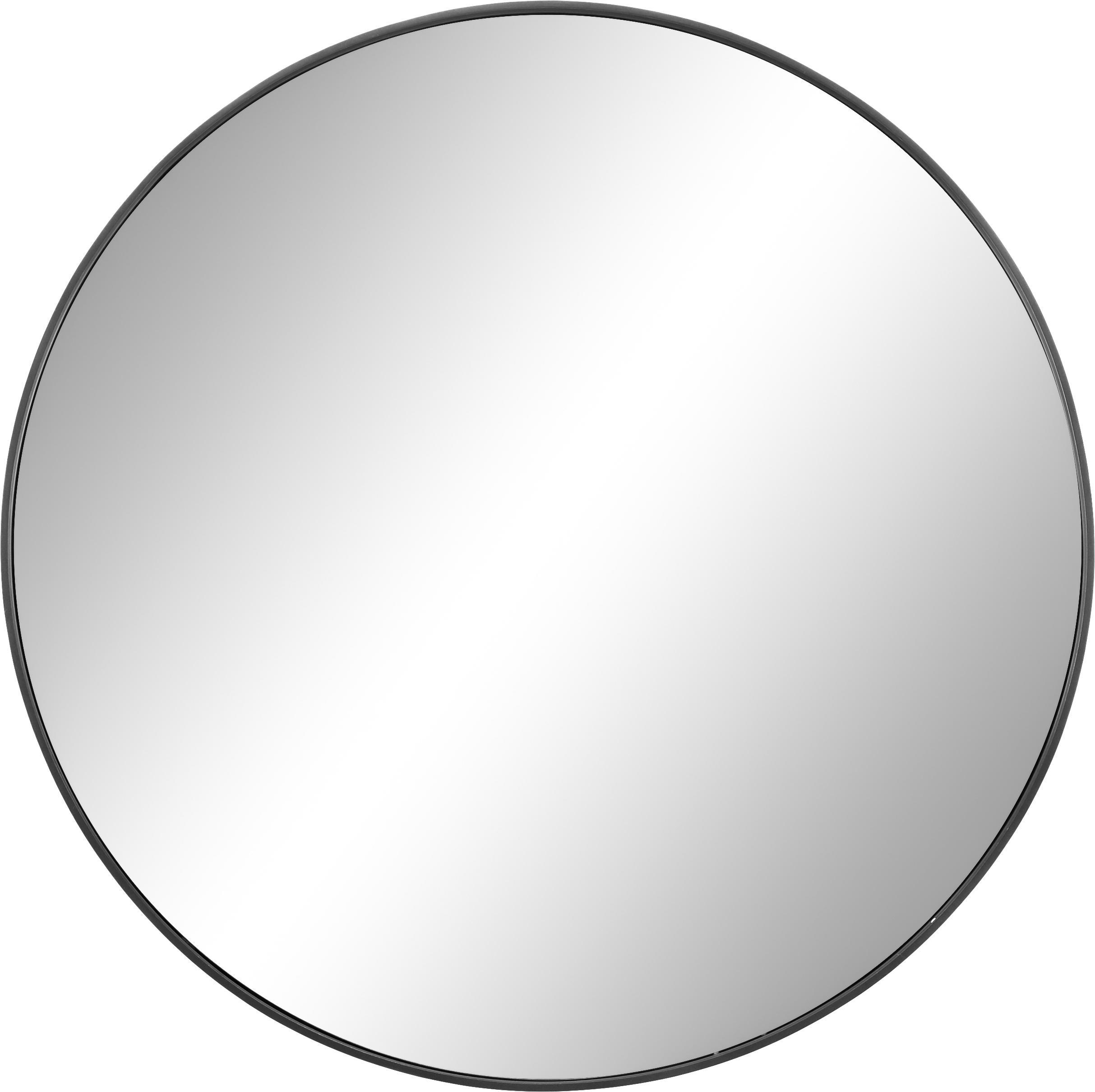 Espejo de pared redondo Ada con marco azul, Espejo: cristal, Parte trasera: fibra de densidad media, Gris oscuro, Ø 60 cm