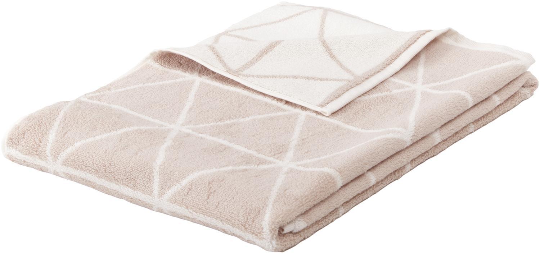 Asciugamano reversibile con motivo grafico Elina, Sabbia, bianco crema, Asciugamano