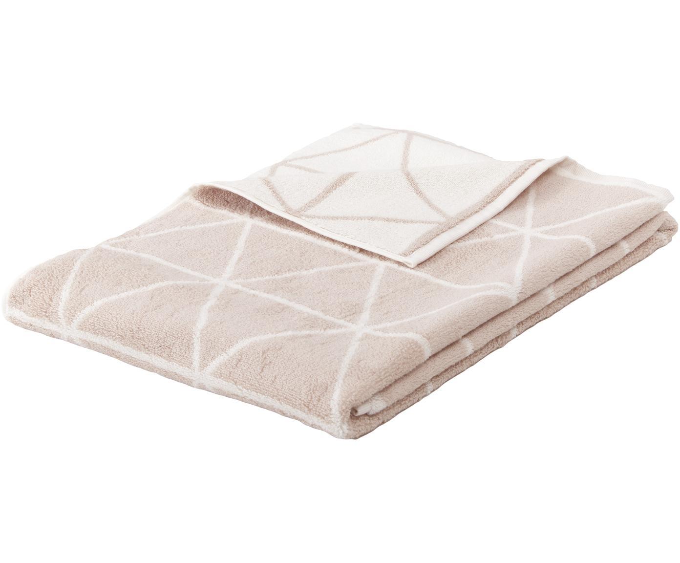 Wende-Handtuch Elina mit grafischem Muster, Sandfarben, Cremeweiß, Handtuch