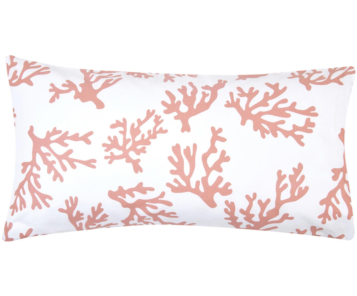 Poszewka na poduszkę z satyny bawełnianej Cora, 2 szt., Odcienie koralowego, S 40 x D 80 cm
