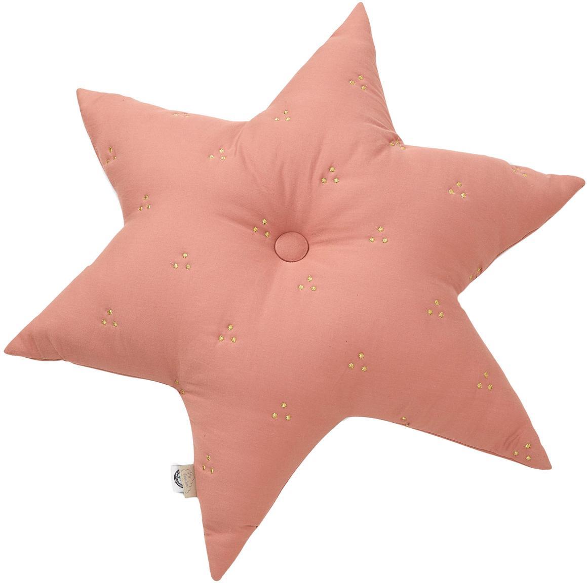 Cuscino a stella in cotone organico Golden Star, Rosa cipria, Larg. 45 x Lung. 45 cm