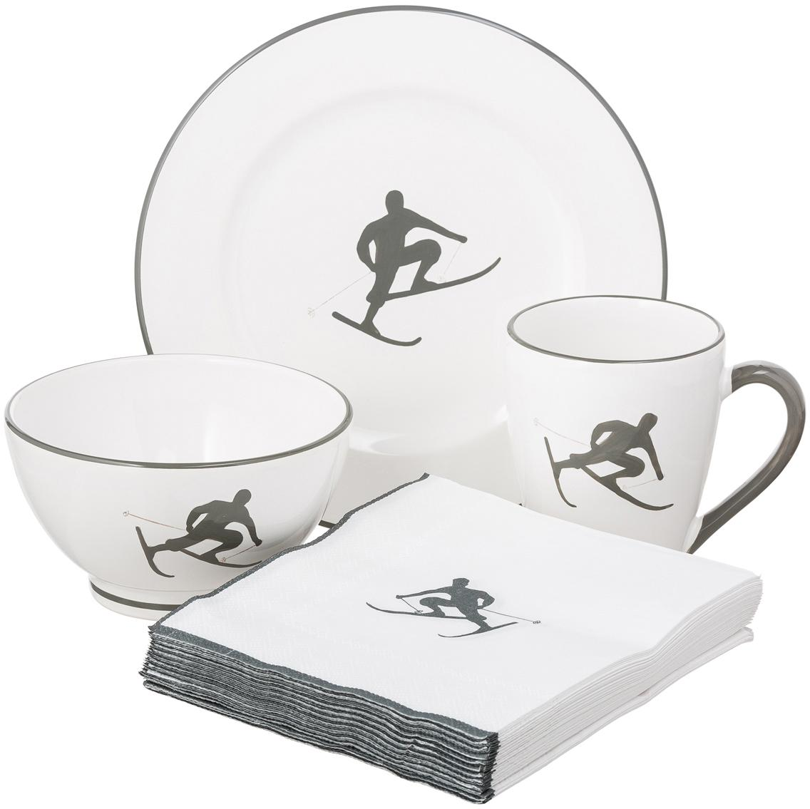 Servizio da colazione dipinto a mano  Toni 4 pz, Ceramica, Grigio, bianco, Set in varie misure