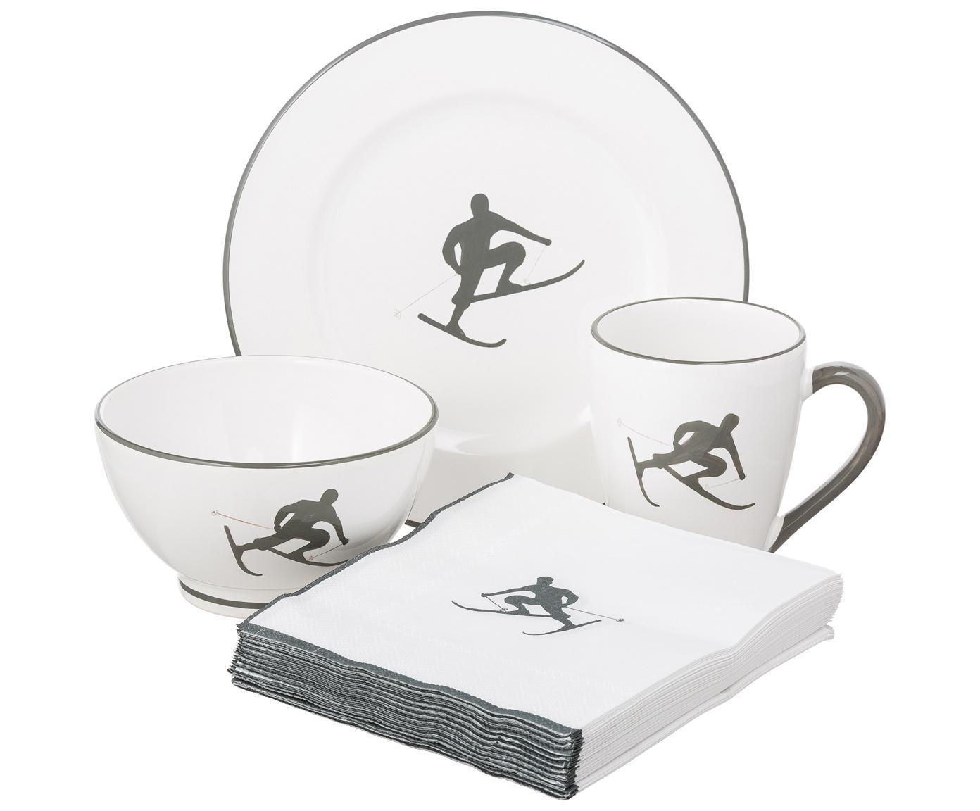 Ręcznie malowany serwis śniadaniowy Toni, 4 elem., Ceramika, Szary, biały, Różne rozmiary