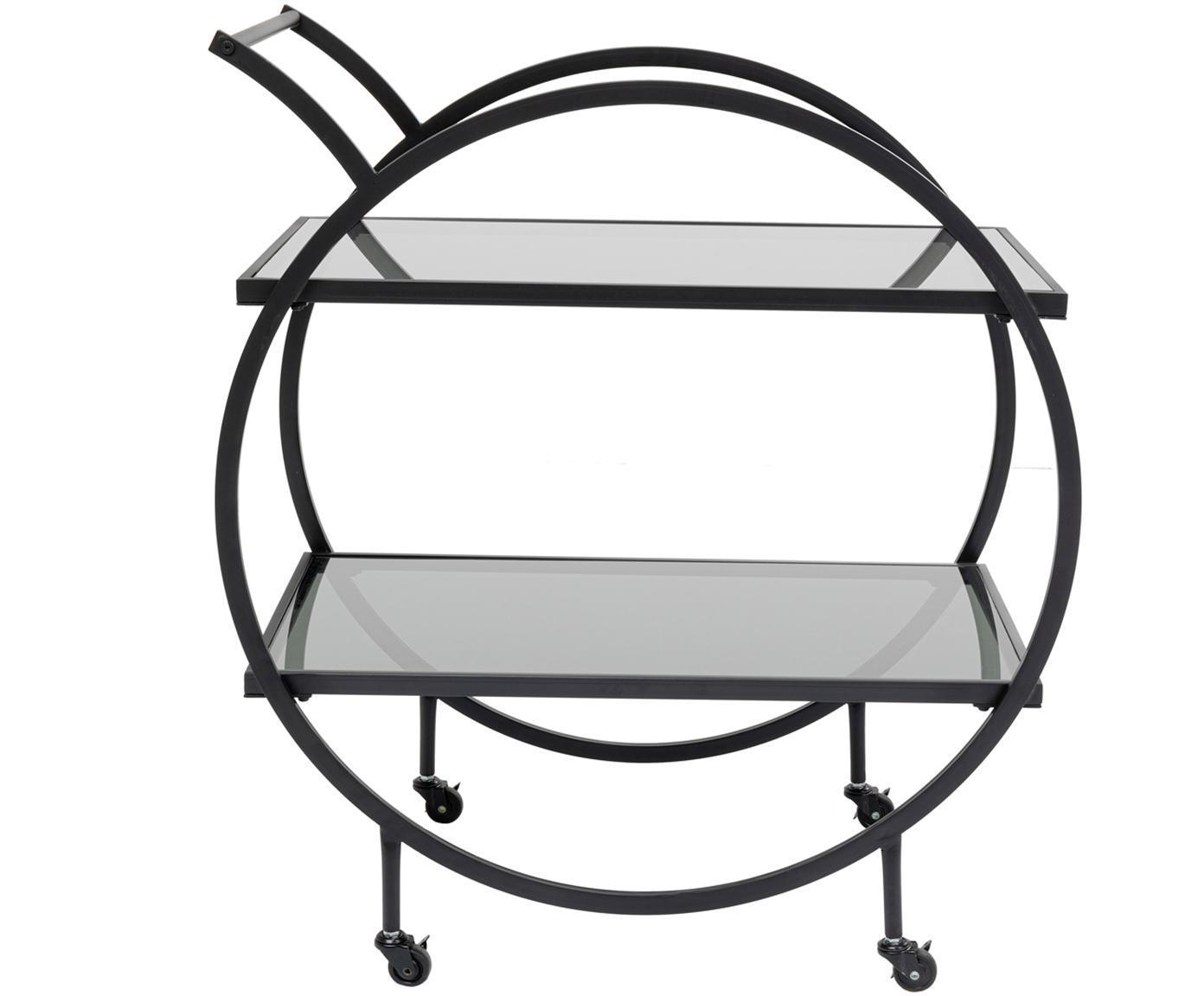 Camarera Loft, Estructura: metal, recubierto en polv, Bandejas: vidrio laminado tintado, Negro, An 74 x Al 85 cm