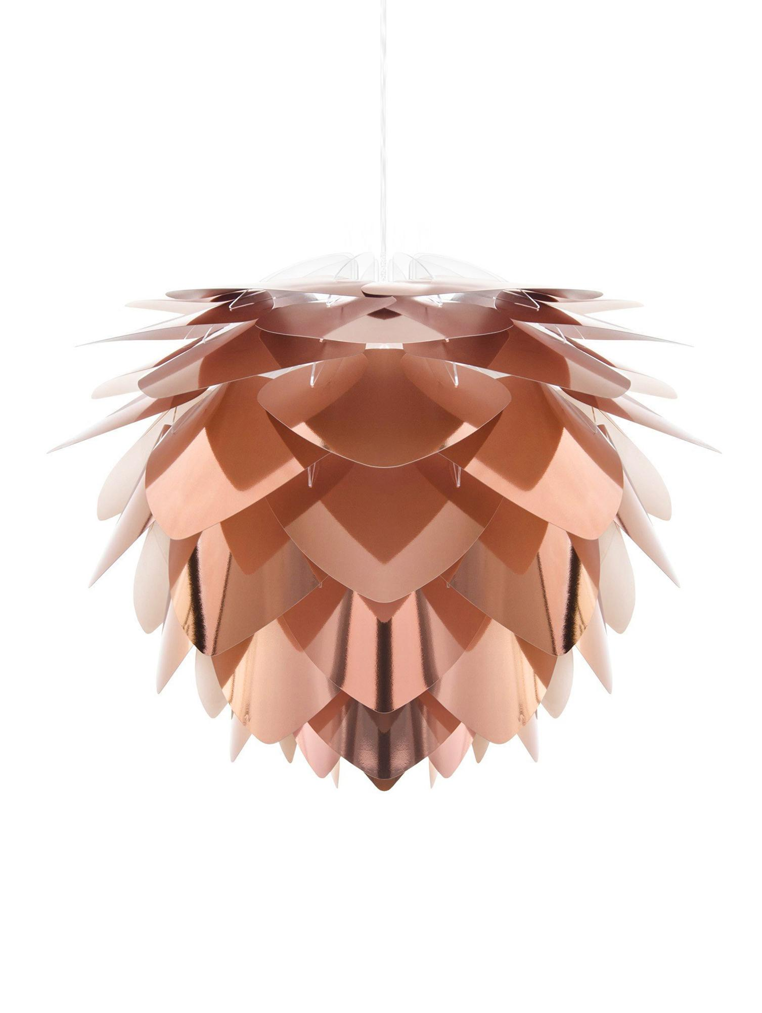 Lámpara de techo Silvia, set para montar, Pantalla: polipropileno, Cable: cubierto en tela, Cobre, blanco, Ø 32 x Al 25 cm