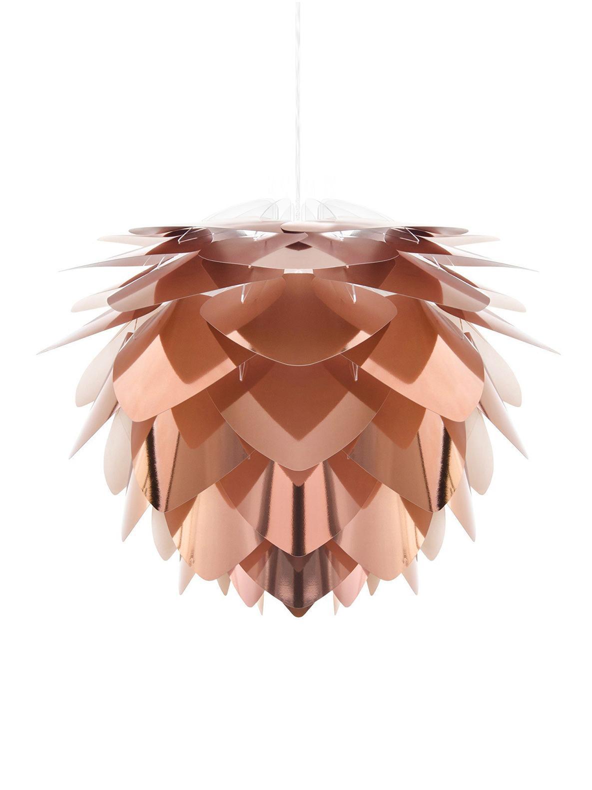 Lampada a sospensione Silvia, Paralume: polipropilene, Color rame, bianco, Ø 32 x Alt. 25 cm