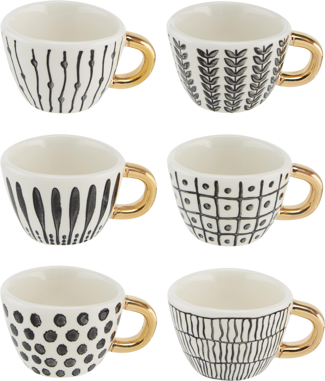 Gemusterte Espressotassen Masai mit goldenem Griff, 6er-Set, Steingut, Schwarz, Weiss, Goldfarben, Ø 7 x H 5 cm