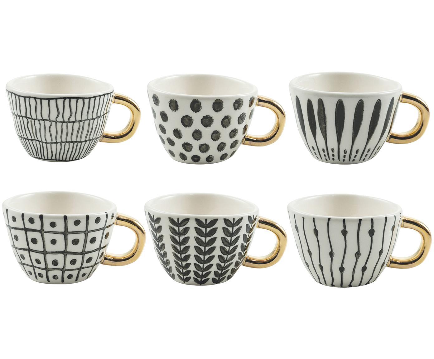 Gemusterte Espressotassen Masai mit goldenem Griff, 6er-Set, Steingut, Schwarz, Weiß, Goldfarben, Ø 7 x H 5 cm