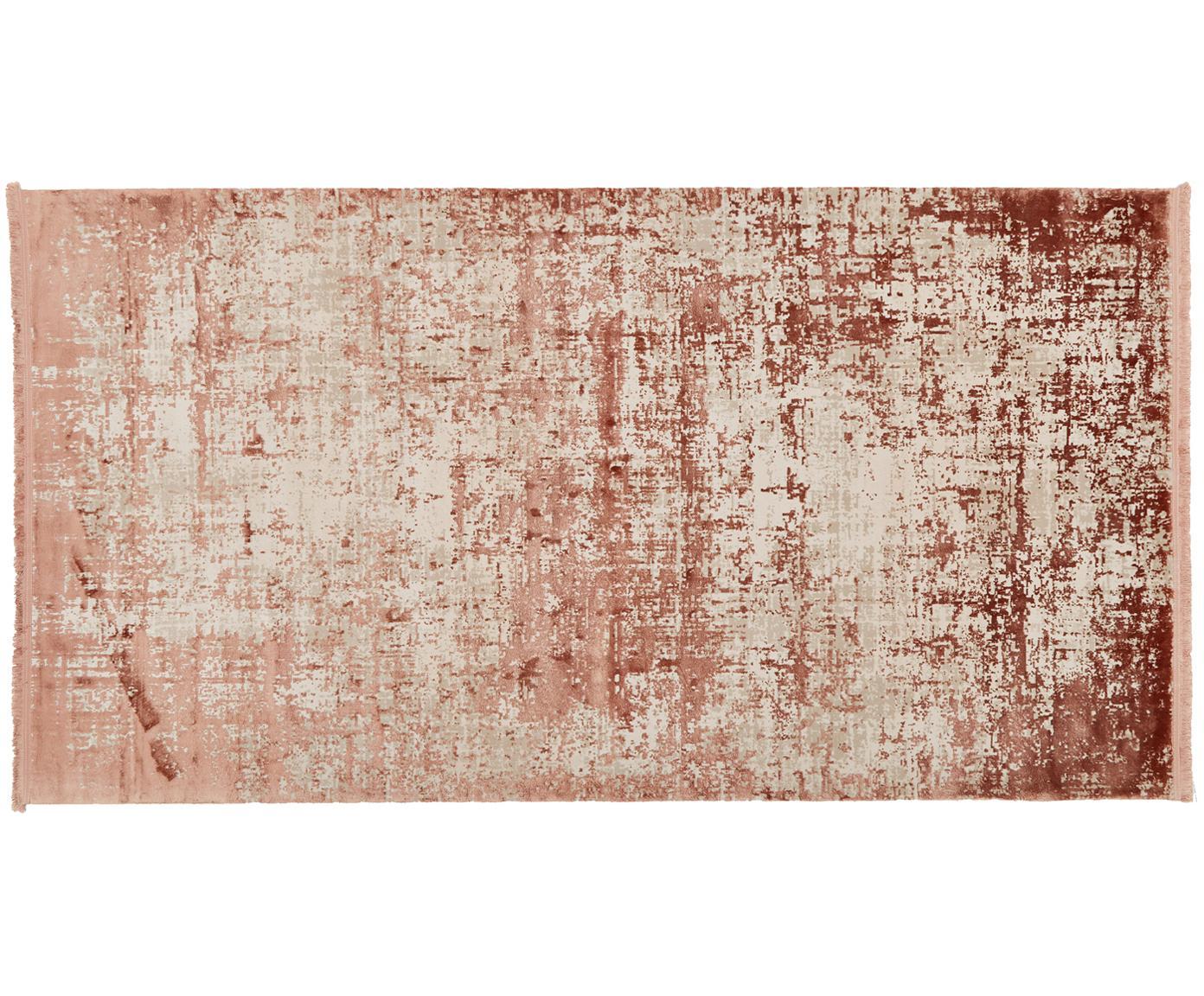 Alfombra con flecos Cordoba, estilo vintage, Parte superior: 70%acrílico, 30%viscosa, Reverso: algodón, Terracota, beige, An 80 x L 150 cm (Tamaño XS)