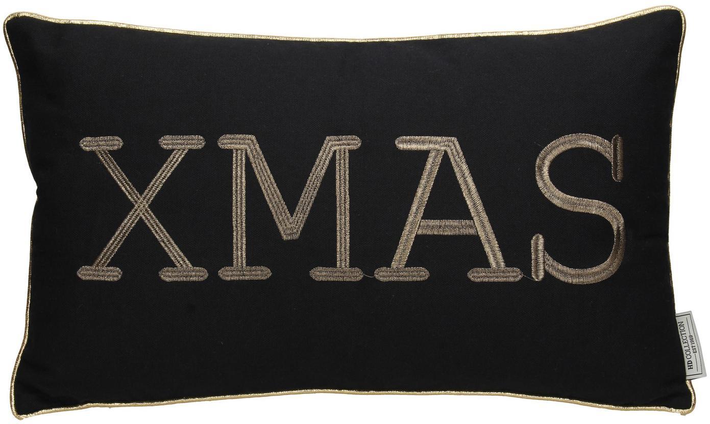 Kissen Xmas mit goldener Aufschrift, mit Inlett, Baumwolle, Schwarz, Goldfarben, 30 x 50 cm