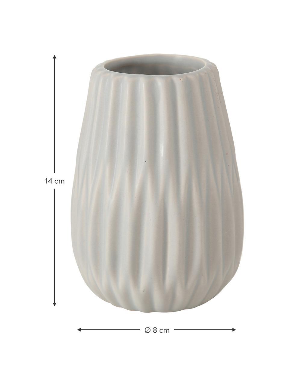 Set 3 vasi decorativi in gres Wilma, Gres, Grigio, bianco, rosa, Ø 8 x Alt. 14 cm