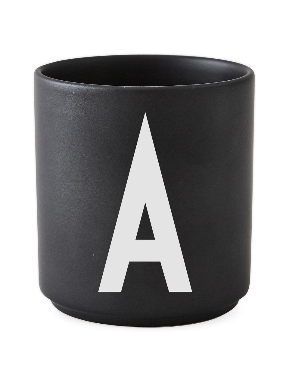 Mug design porcelaine noire Personal (variantes deA à Z), Noir mat, blanc