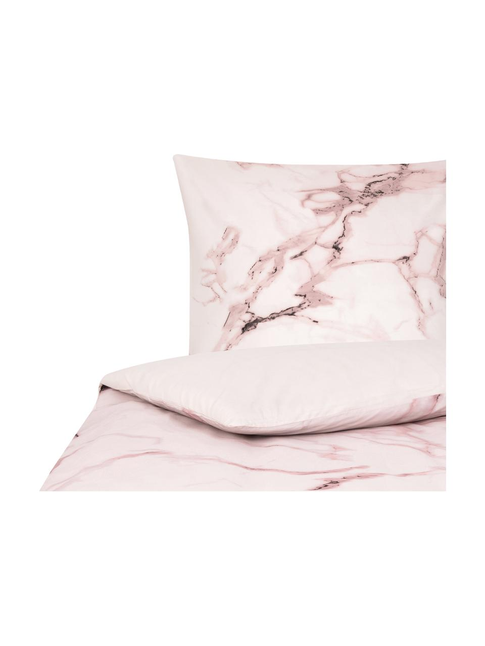 Parure copripiumino reversibile Malin, Fronte: modello in marmo, rosa Retro: rosa, monocolore, 155 x 200 cm + 1 federa 50 x 80 cm