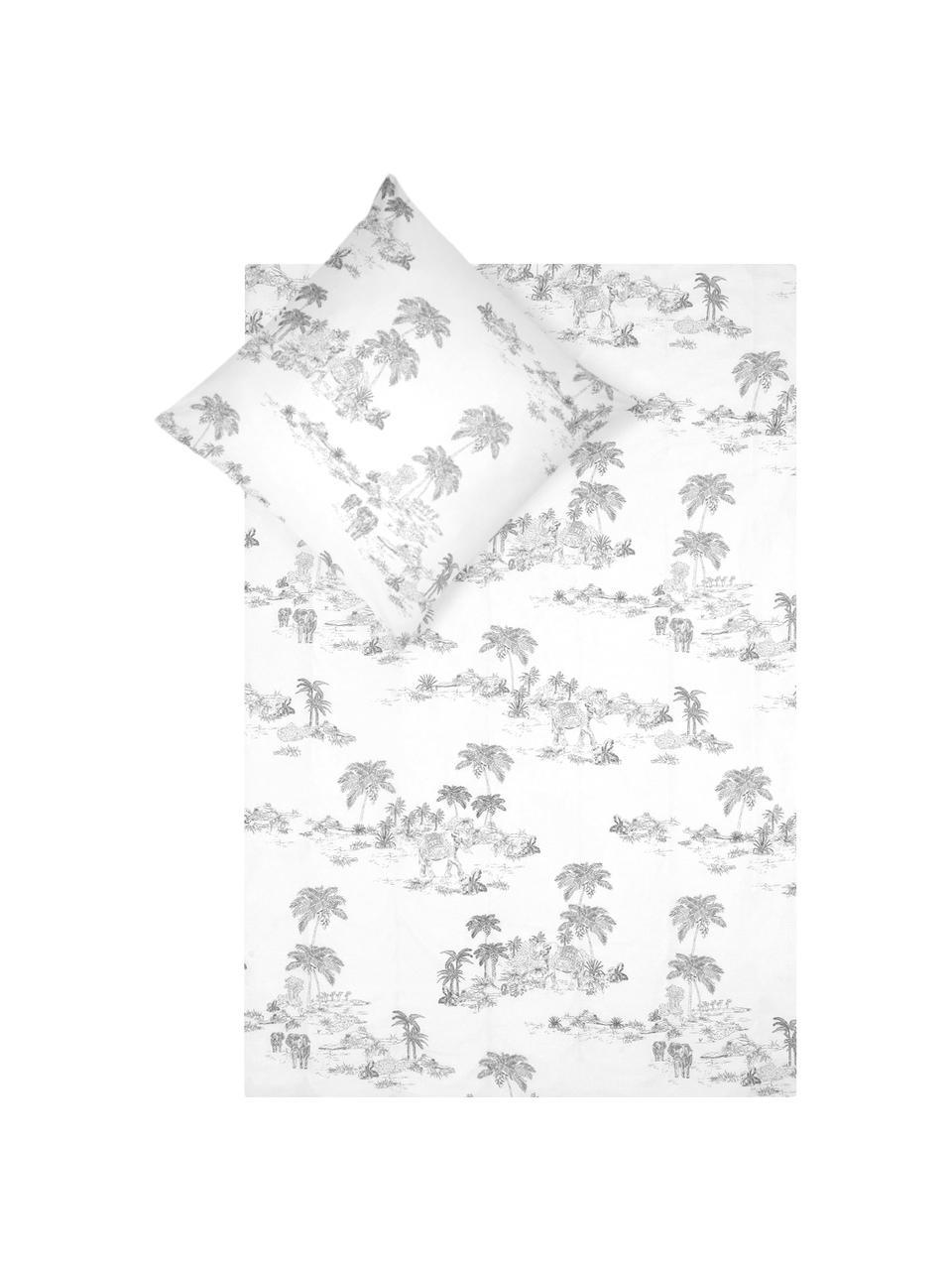 Pościel z perkalu Forest, Biały, szary, 135 x 200 cm