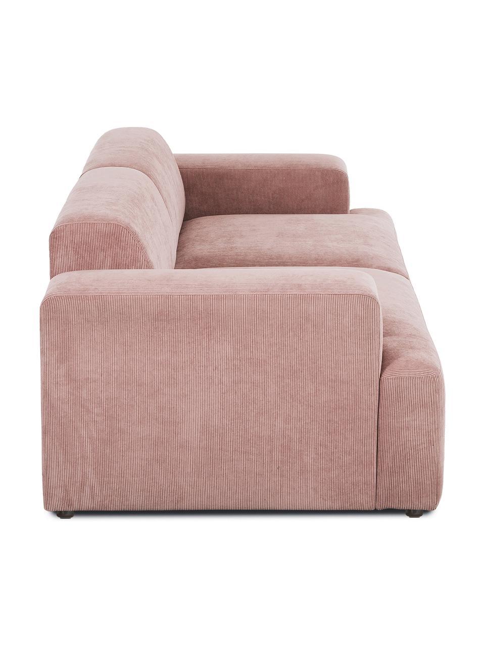 Sofa ze sztruksu Melva (3-osobowa), Tapicerka: sztruks (92% poliester, 8, Stelaż: lite drewno sosnowe, cert, Nogi: tworzywo sztuczne, Sztruksowy blady różowy, S 238 x G 101 cm