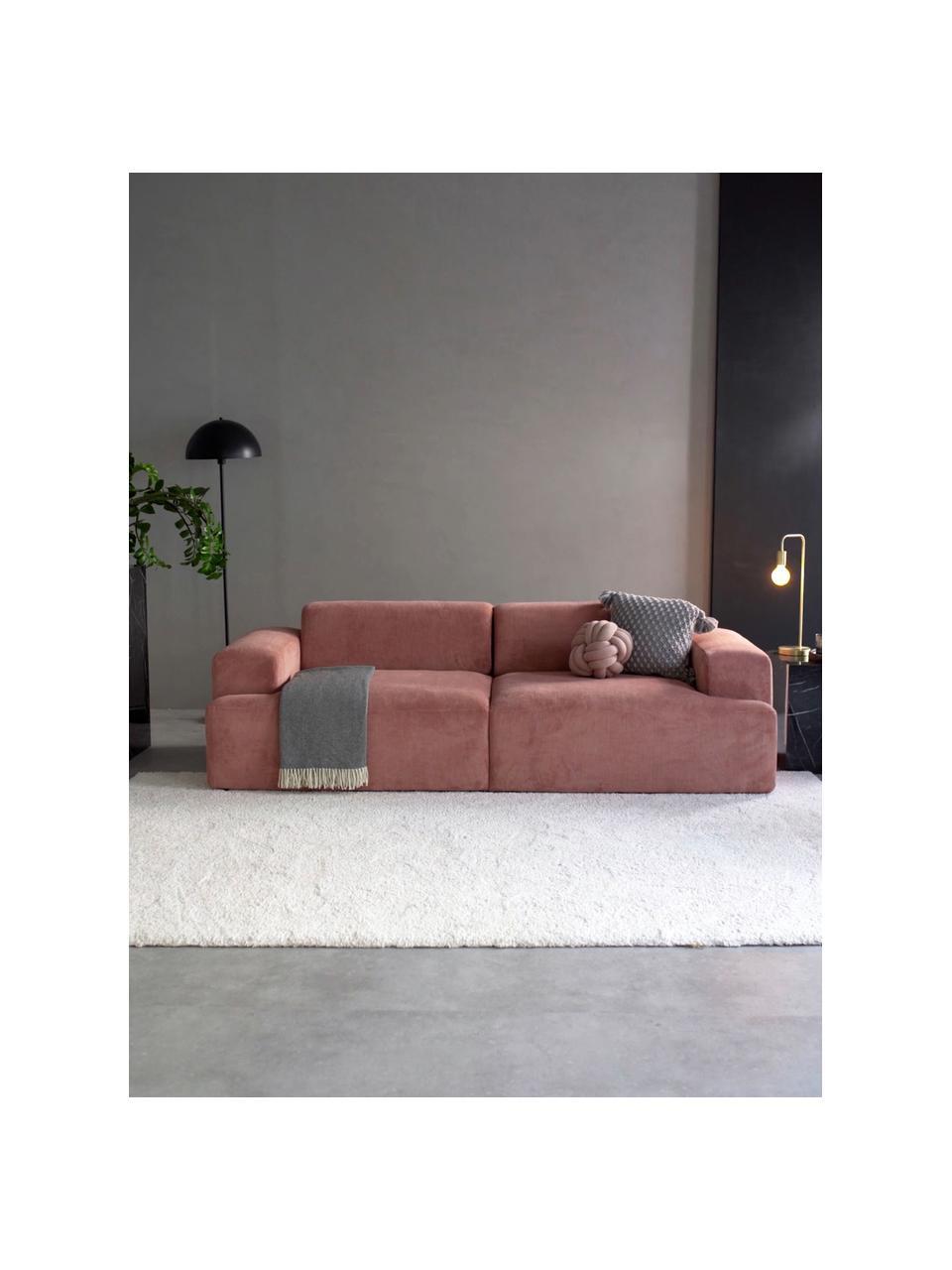 Cord-Sofa Melva (3-Sitzer) in Rosa, Bezug: Cord (92% Polyester, 8% P, Gestell: Massives Kiefernholz, FSC, Füße: Kunststoff, Cord Rosa, B 238 x T 101 cm