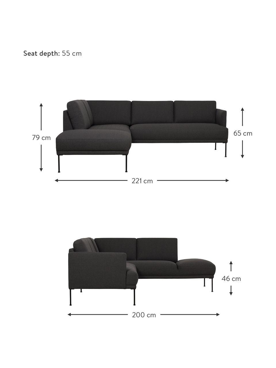 Sofa narożna z metalowymi nogami Fluente, Tapicerka: 100% poliester Dzięki tka, Nogi: metal malowany proszkowo, Ciemnyszary, S 221 x G 200 cm