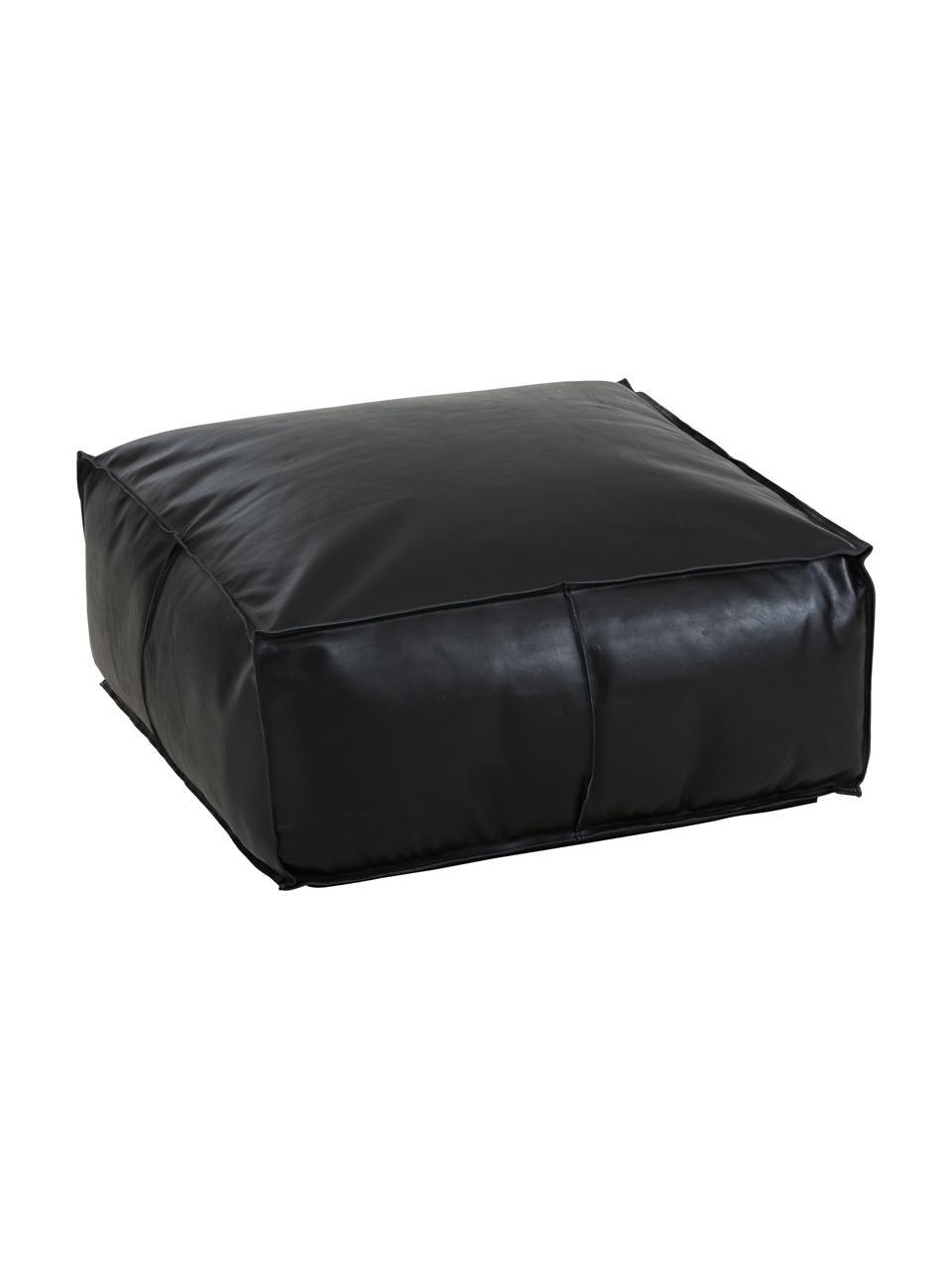 Cuscino da pavimento in pelle Arabica, Rivestimento: pelle, finitura nappa, Nero, Larg. 70 x Alt. 30 cm
