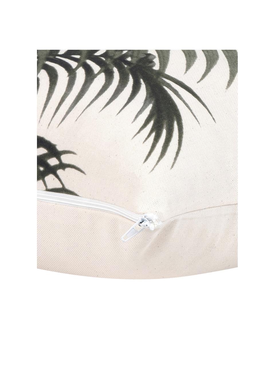 Federa arredo con motivo tropicale Palmeira, 100% cotone, Ecru, verde, Larg. 40 x Lung. 40 cm