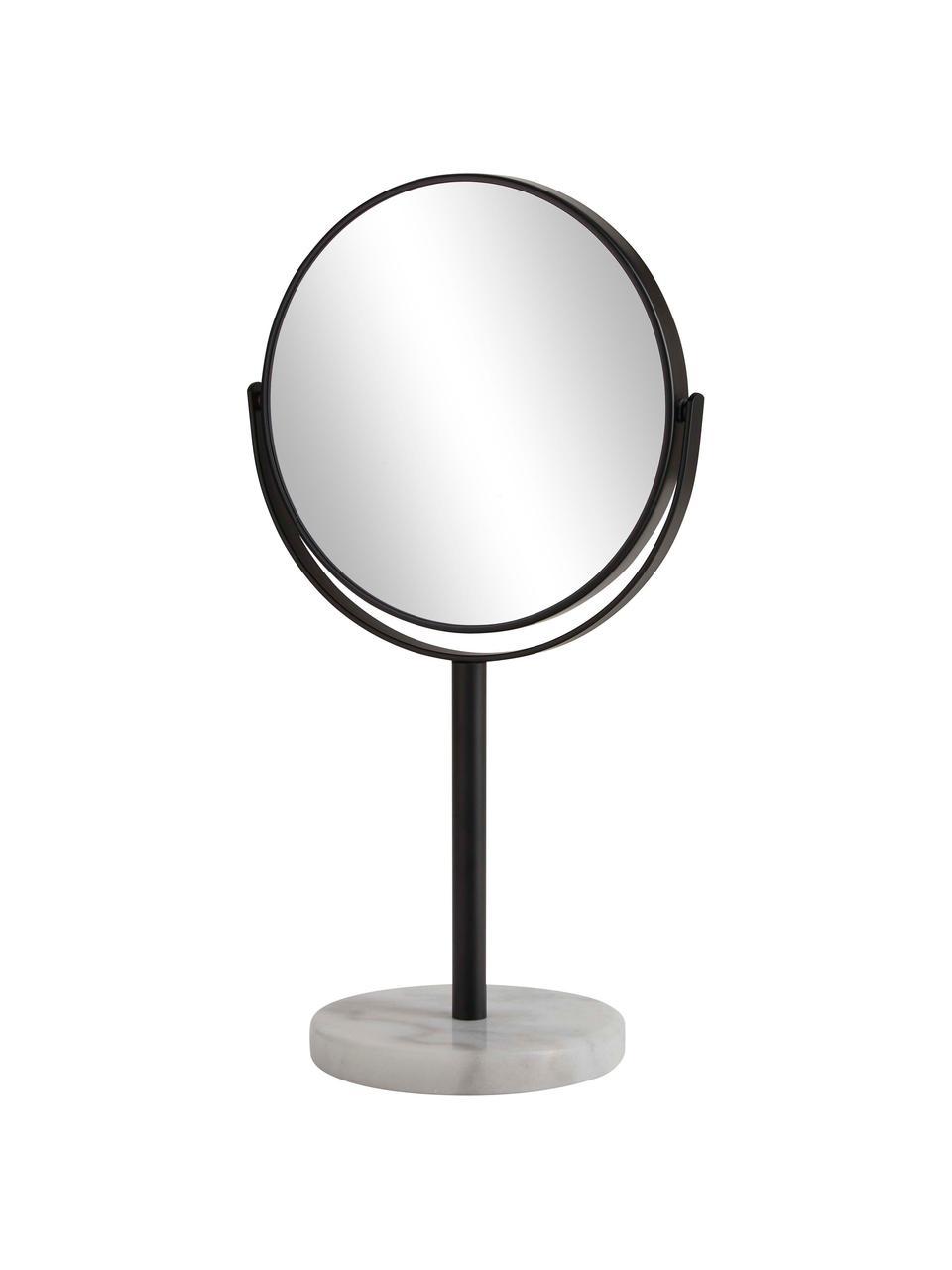 Kozmetické zrkadlo s mramorovým podstavcom Ramona, Čierna, biela