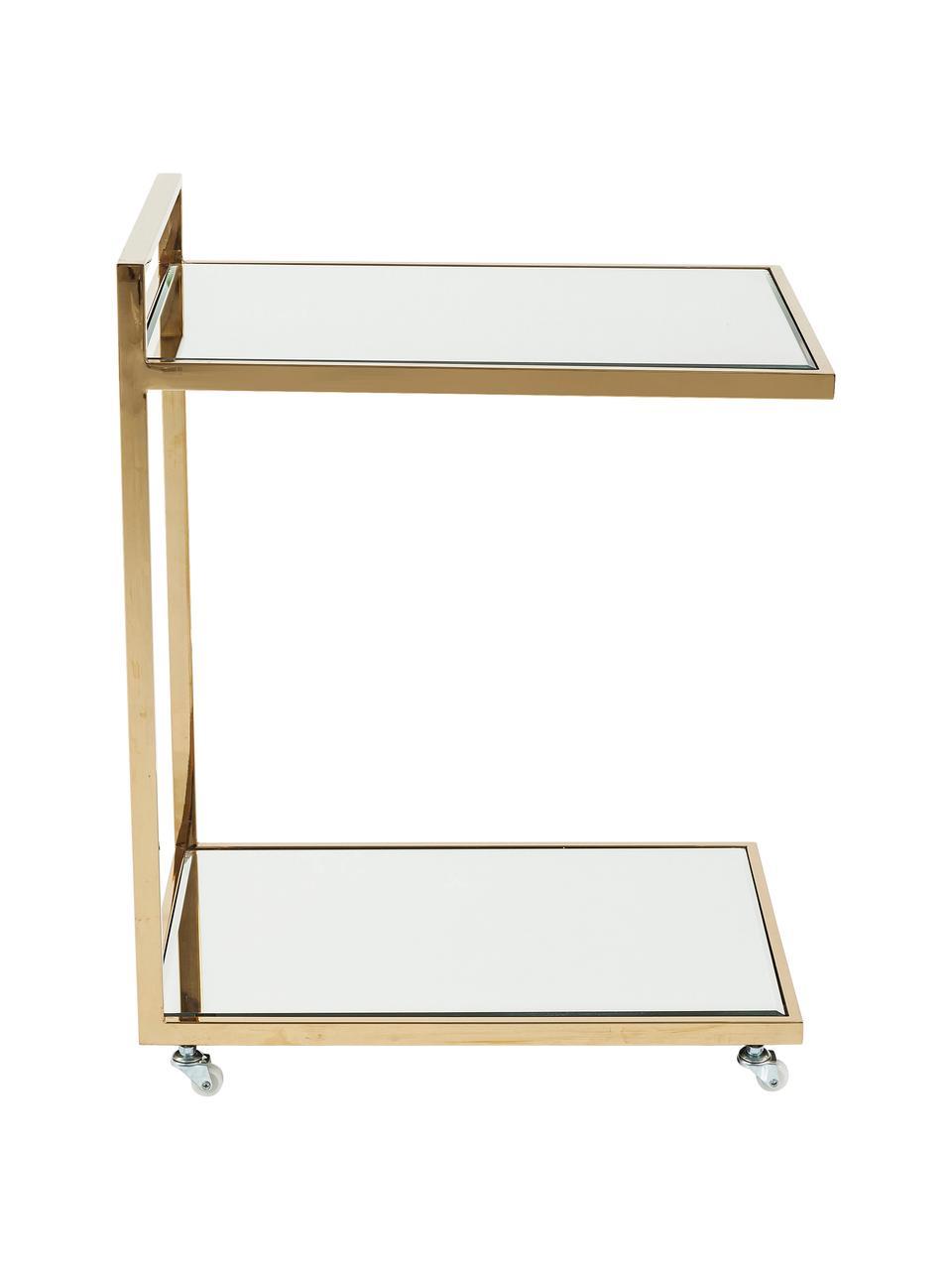 Desserte avec verre miroir Classy Gold, Structure: couleur dorée Tablette: verre Roulettes: blanc
