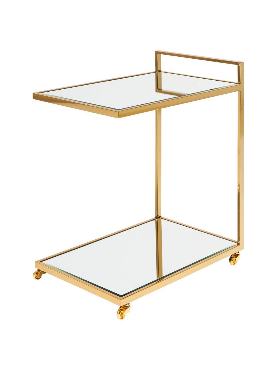 Servierwagen Classy Gold mit Spiegelglas, Gestell: Edelstahl, vermessingt, Räder: Kunststoff, Gestell: Goldfarben Ablageflächen: Glas Räder: Weiß, 50 x 64 cm