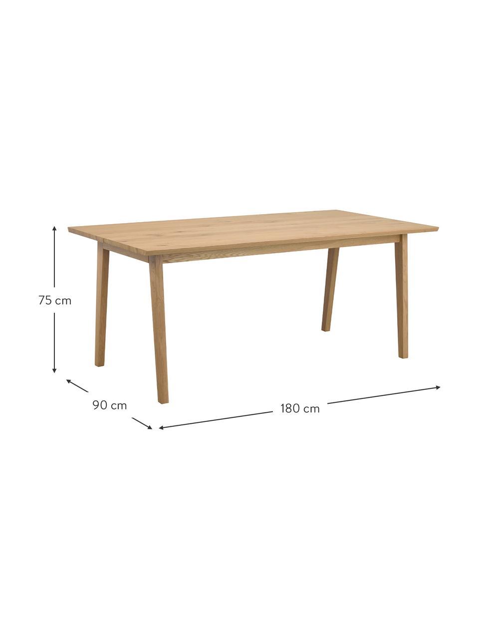 Tavolo marrone chiaro Melfort, Gambe: legno di betulla solido c, Marrone chiaro, Larg. 180 x Prof. 90 cm