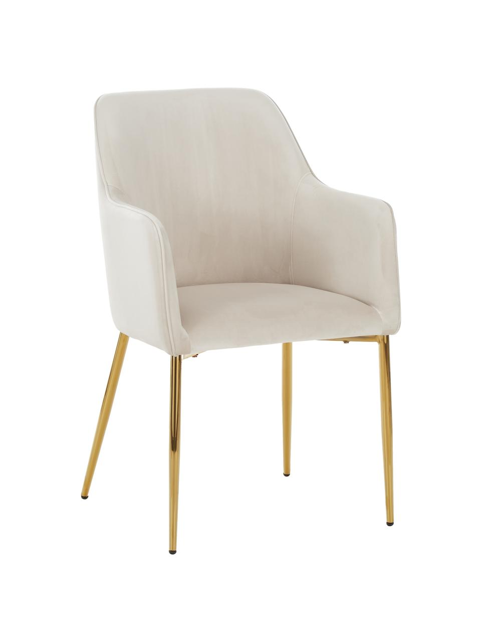 Chaise velours moderne pieds dorés Ava, Velours beige, pieds or