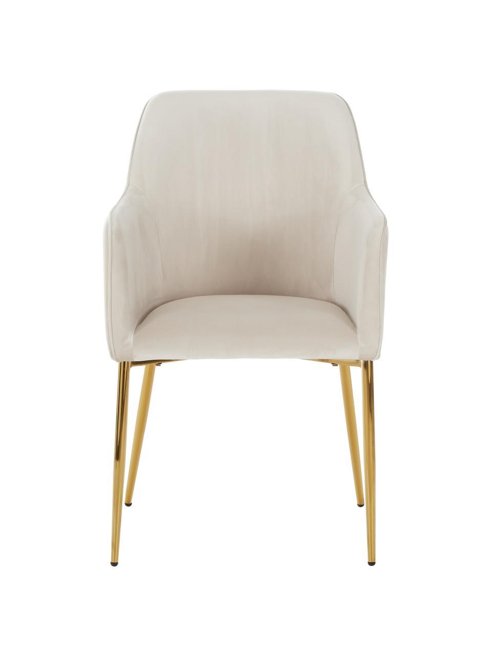 Sedia con braccioli in velluto beige Ava, Rivestimento: velluto (100% poliestere), Gambe: metallo zincato, Velluto beige, gambe oro, Larg. 57 x Prof. 63 cm