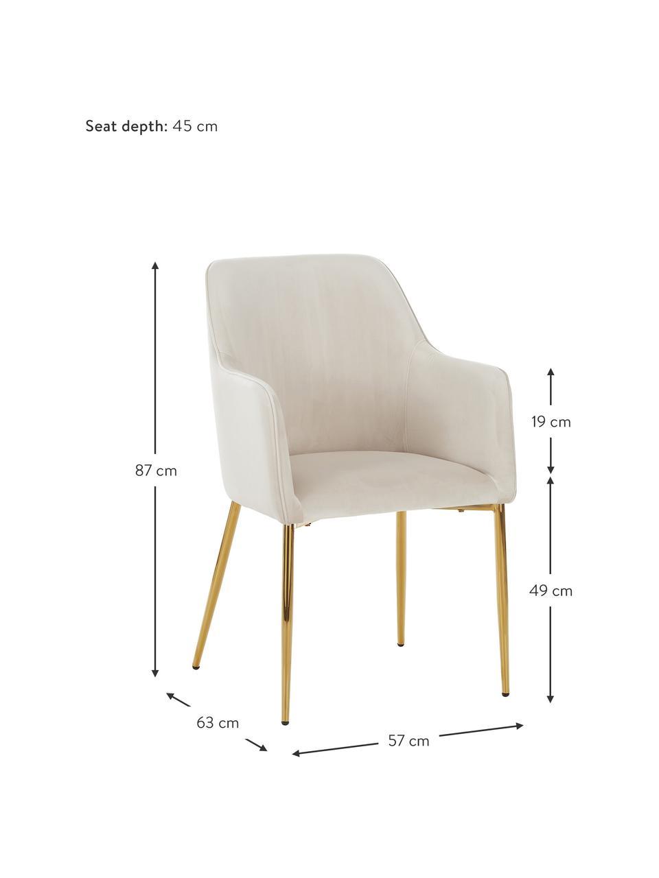 Sametová židle spodručkami Ava, Béžová Nohy: zlatá