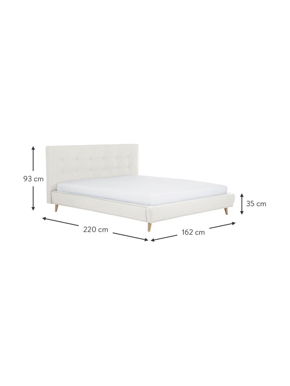 Gestoffeerd bed Moon in beige, Frame: massief grenenhout en pla, Bekleding: polyester (gestructureerd, Poten: massief eikenhout, Geweven stof beige, 180 x 200 cm
