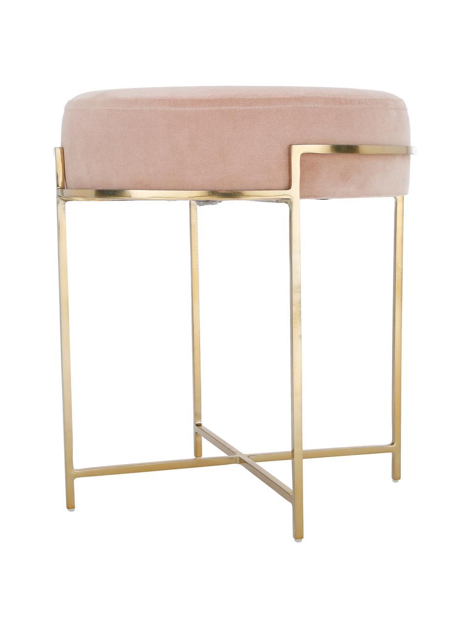 Sgabello in velluto Madeleine, Rivestimento: velluto di cotone, Rivestimento: rosa Base: dorato opaco, Ø 40 x Alt. 50 cm