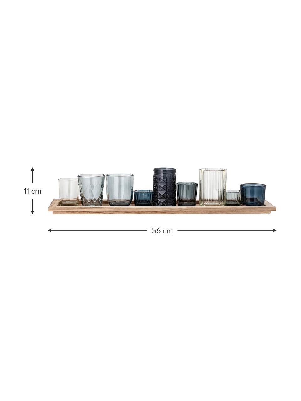 Komplet świeczników ze szkła Elviena, 10 elem., Niebieski, transparentny, S 56 x W 11 cm