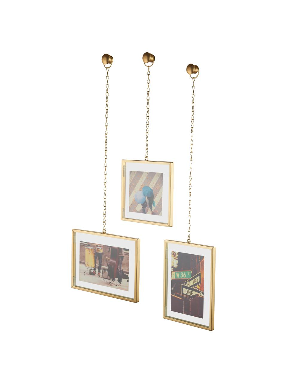 Set 3 portafoto da parete Strass, Ottone opaco, Set in varie misure