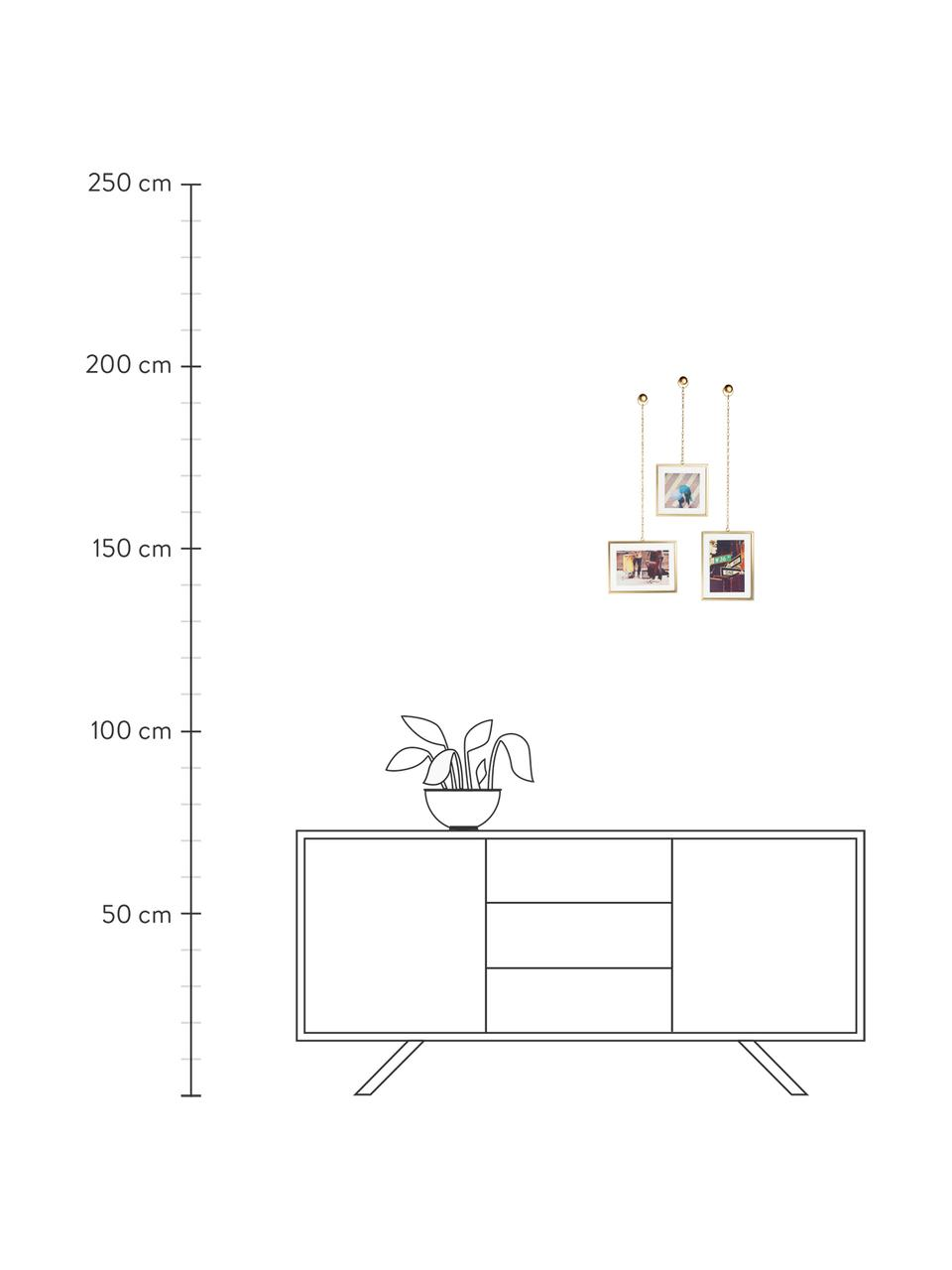 Bilderrahmen-Set Strass, 3-tlg., Front: Glas, Messing, matt, Sondergrößen