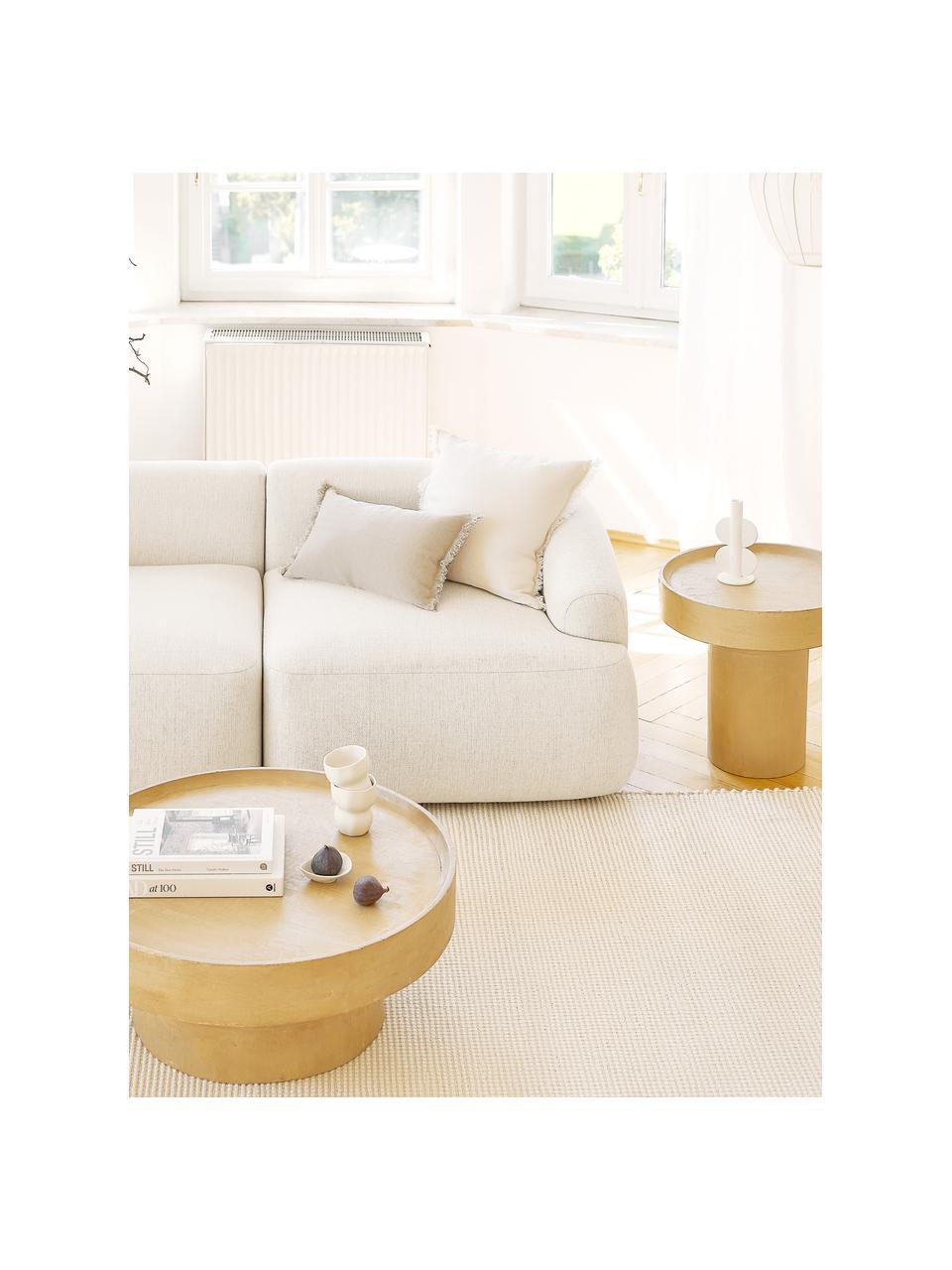Modulaire hoekbank Sofia, beige, Bekleding: 100% polypropyleen, Frame: massief grenenhout, spaan, Poten: kunststof, Geweven stof beige, B 278 x D 174 cm