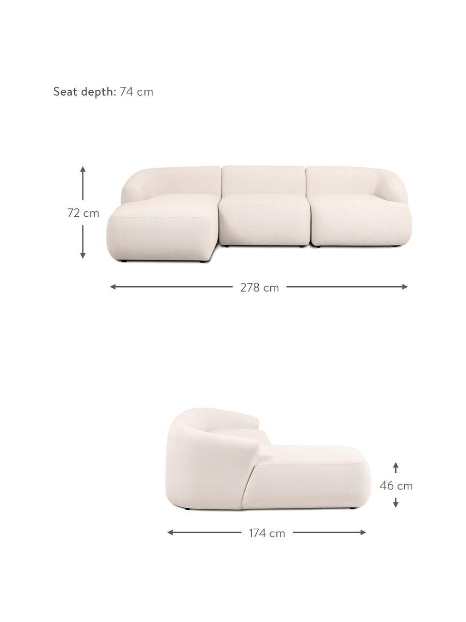 Canapé d'angle modulable beige Sofia, Beige