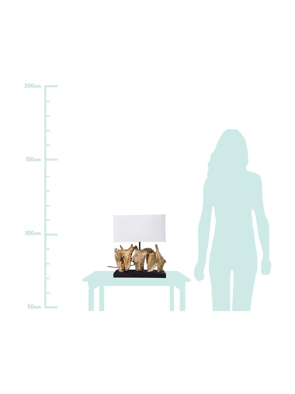 Lampada da tavolo con decorazione in legno Nature, Paralume: cotone, Base della lampada: legno galleggiante, Bianco, marrone, Larg. 35 x Alt. 43 cm